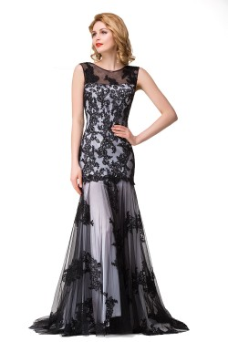DANIELA | Scoop Neck Mermaid Black lace Applique Evening Prom dresses