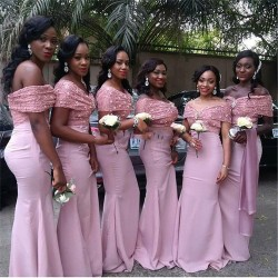 Günstige Brautjungfernkleider Altrosa Chiffon Lang Meerjungfrau Pailetten Kleider Für Brautjungfern