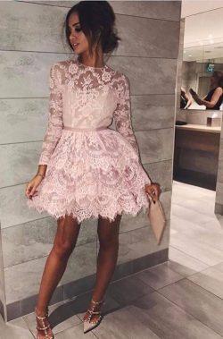 Rosa Cocktailkleider Partykleider Spitze Günstig A Line Abendkleider Kurz