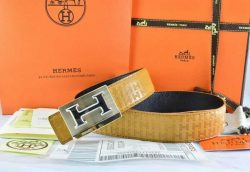 Hermes Idem Belts Black Togo Calfskin With Silver Metal Buckle For Men And Women hermesbelt.us.com