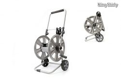 metal folding hose reel cart with hose guide