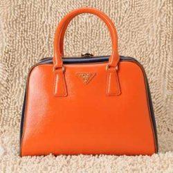 Prada Handbags Qo77 Leather Orange Authentic pradatotebag.com