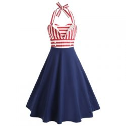 Striped Halter Pin Up Dress